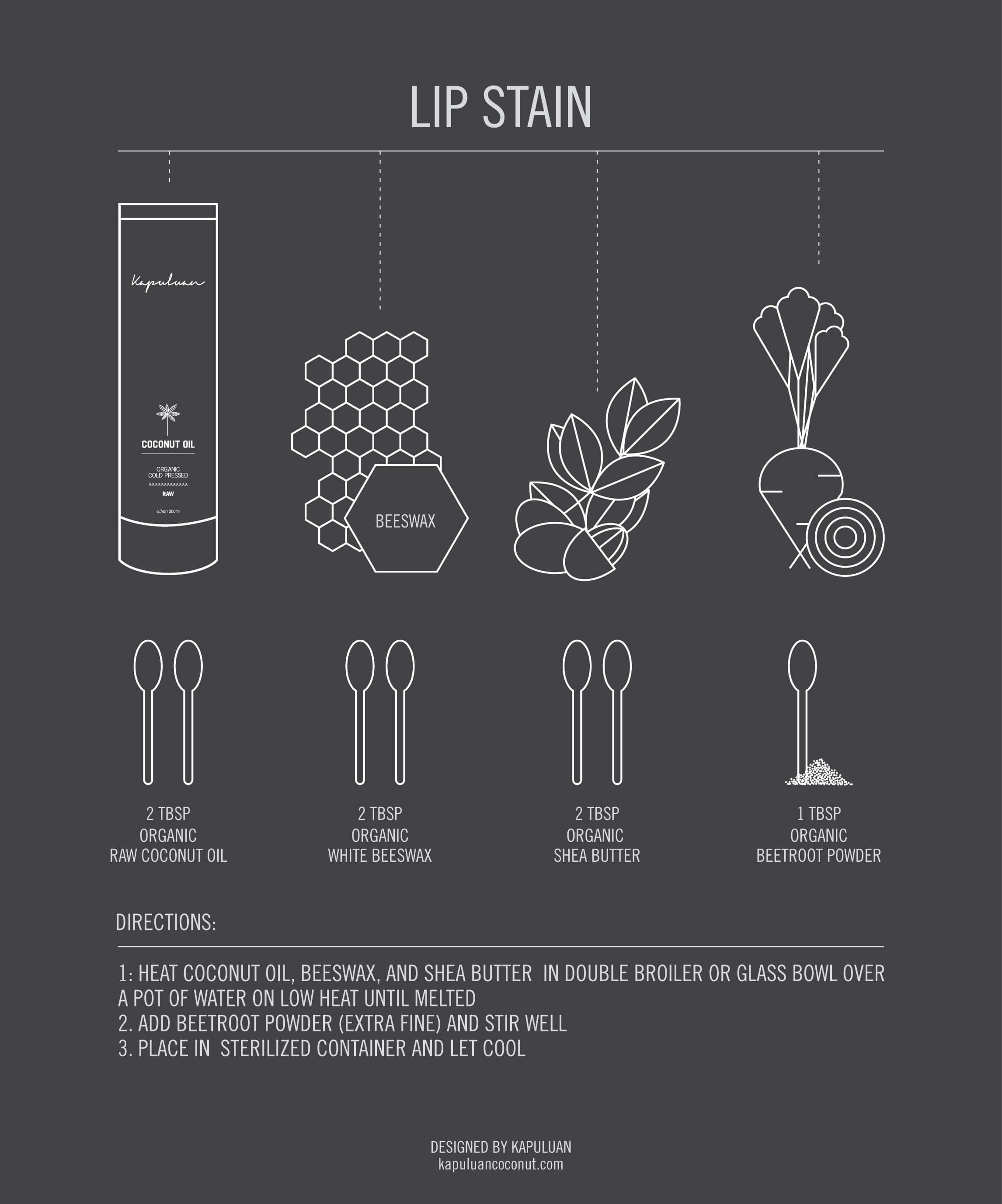 Kapuluan Coconut Oil's Lip Tint Recipe Infographic